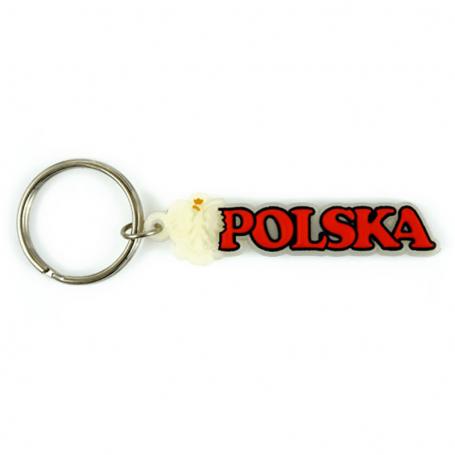 Llavero de goma, signo fluorescente Polonia