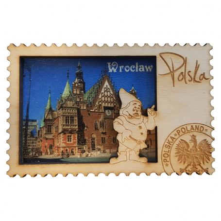 Magnes na lodówkę drewniany Wrocław ratusz