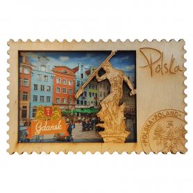 Wooden fridge magnet Gdańsk Old Town