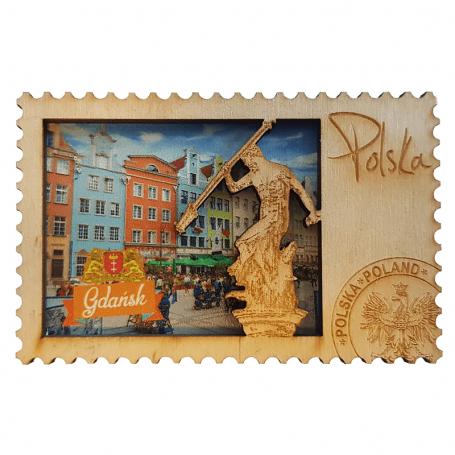 Imán de madera para nevera en el casco antiguo de Gdańsk
