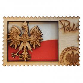 Magnes na lodówkę drewniany Polska Godło