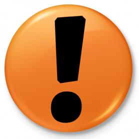 Button Abzeichen, Pin Protest mit einem Ausrufezeichen