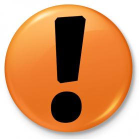 Button Kühlschrankmagnet Protest mit einem Ausrufezeichen