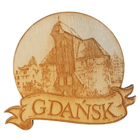 Aimant de réfrigérateur rond en bois Gdańsk