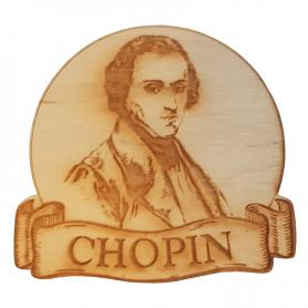 Round wooden fridge magnet Chopin