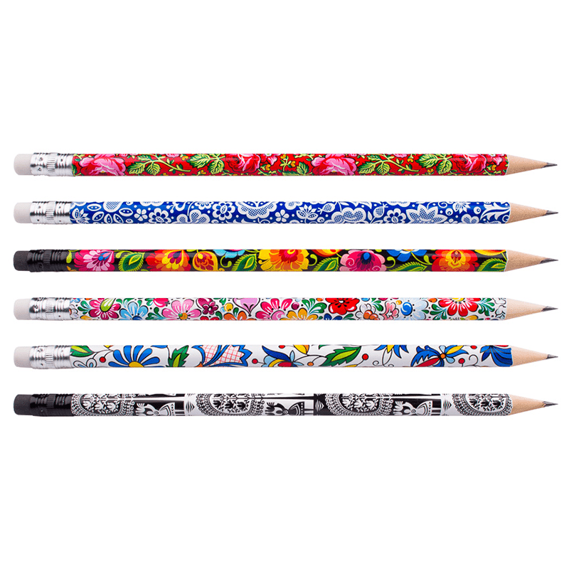Crayons avec une gomme à effacer - ensemble de 6 éléments - motifs folkloriques polonais