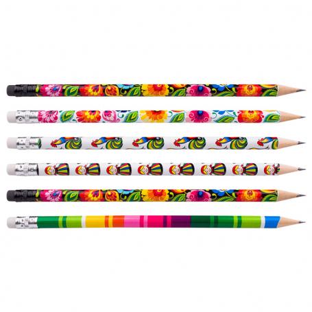 Ołówki z gumką - zestaw 6 szt. - łowickie motywy ludowe