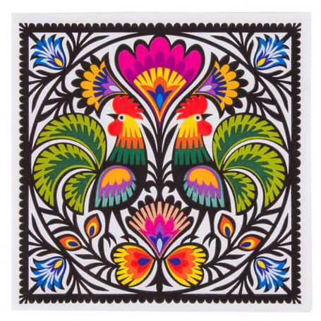 Servilletas de papel - gallos de Łowicz