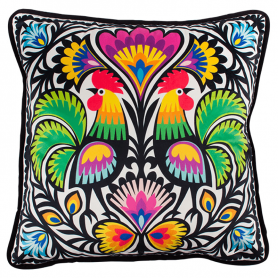 Decorative cushion - cutout roosters from Łowicz
