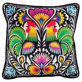Dekoratív párna - kivágott kakasok Łowiczból