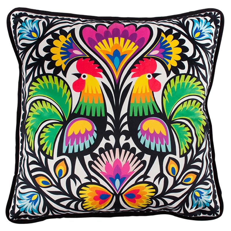Coussin décoratif - Coqs découpés de Łowicz
