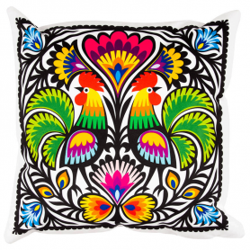 Decorative cushion - cutout roosters from Lowicz