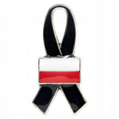 Przypinka, pin wstęga żałobna Polska flaga