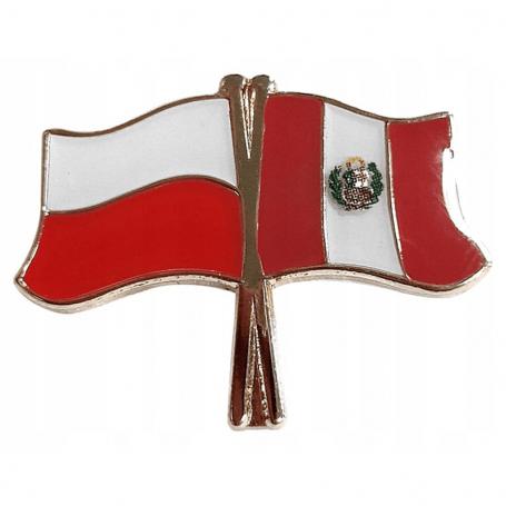 Przypinka, pin flaga Polska-Peru