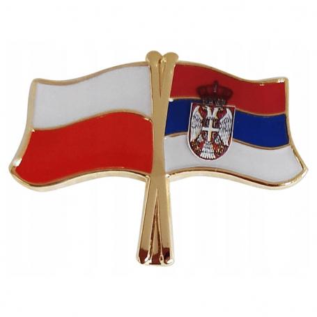 Przypinka, pin flaga Polska-Serbia