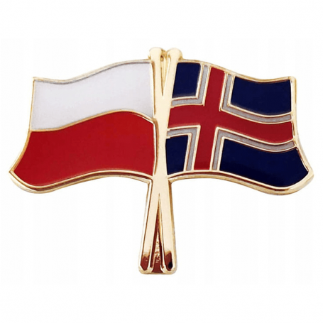 Broche, épingle de drapeau Pologne-Islande