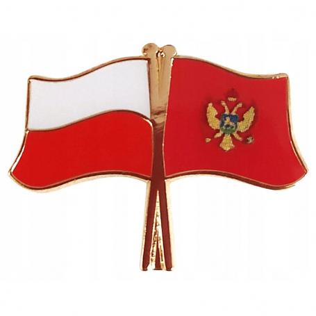 Przypinka, pin flaga Polska-Czarnogóra