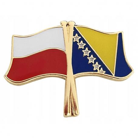 Przypinka, pin flaga Polska-Bośnia i Hercegowina