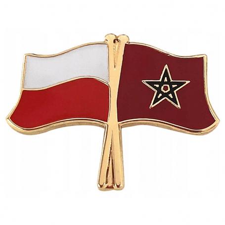 Broche, épingle de drapeau Pologne-Maroc