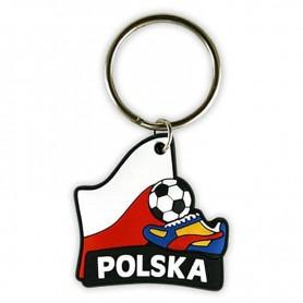 Porte-clés en caoutchouc de football Pologne