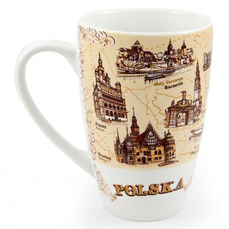 Puodelis didelis latte Lenkijos sepija