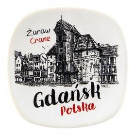 Ceramic fridge magnet Gdańsk Crane oldbook