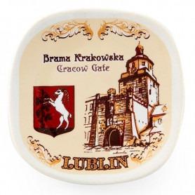 Fridge magnet Lublin Krakowska Gate sepia