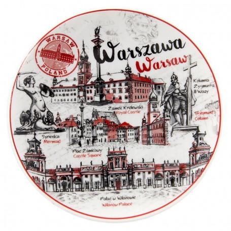 Assiette en céramique petit livre ancien de Varsovie