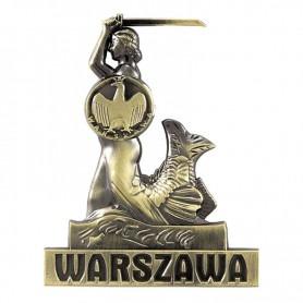 Metalen koelkastmagneet Warschau zeemeermin