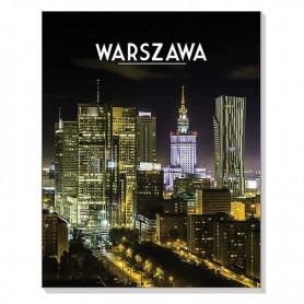 Magneettinen 3D-muistikirja Varsovan kaupunkiin yöllä