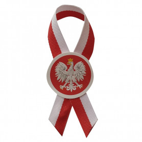Cotillion white-red ribbon with the emblem