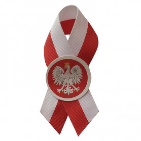 Cotillion ribbon red and white with an emblem of 2 cm