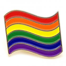 Button badge, rainbow LGBT flag pin