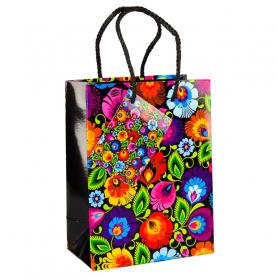 Dekoratívna taška s ľudovým motívom - čierna Łowicz