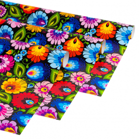 Декоративная бумага для подарочной упаковки - Łowicki black