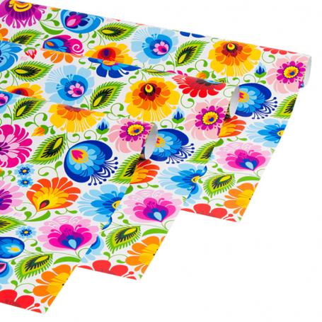 Papier décoratif pour emballage de cadeaux - Łowicki blanc