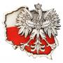 Aimant de réfrigérateur en bois - un aigle contre le contour de la Pologne