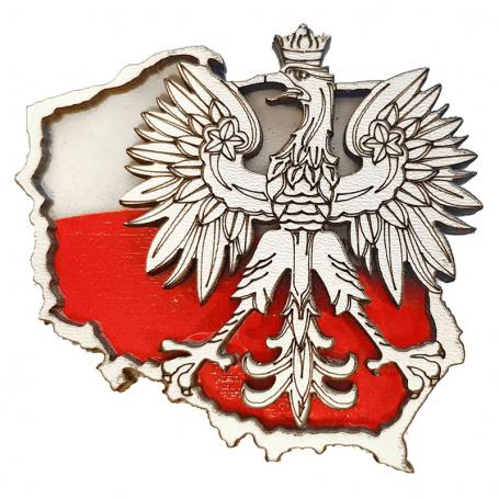 Imán de madera para el refrigerador - un águila contra el contorno de Polonia