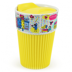 Silicone mug Warsaw - yellow