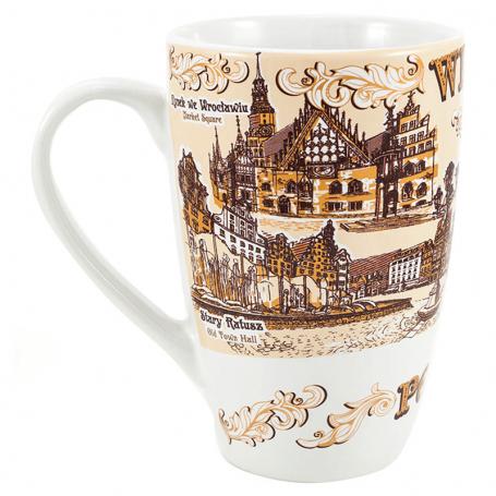 Egy csésze latte Wroclaw szépia