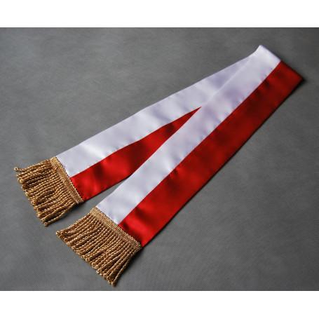Bílá a červená stuha pro nápis PZŁ