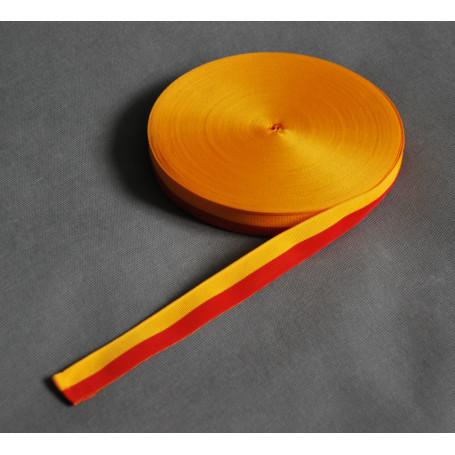 Cinta grosgrain amarillo-rojo 2.5 cm