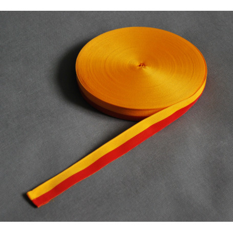 Ruban gros-grain jaune-rouge 2,5 cm