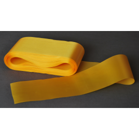 Satin ribbon, one-sided, yellow 10 cm