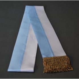 Szarfa biało-niebieska, maryjna, 10 cm, frędzle złote