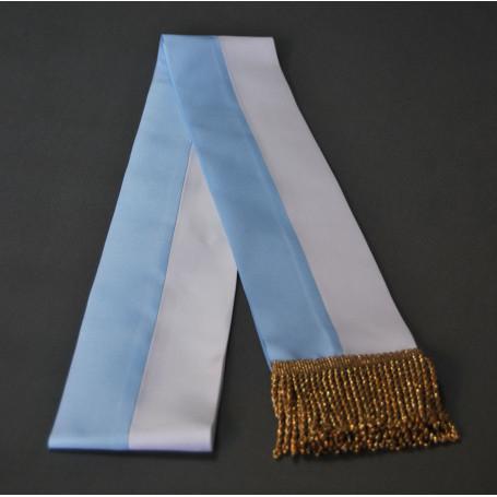 Fajín blanco-azul, mariano, 10 cm, borlas doradas