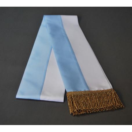 Fajín blanco-azul, mariano, 14 cm, borlas doradas